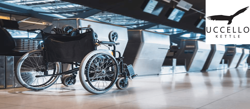 Image of Wheelchair at airport check in desk