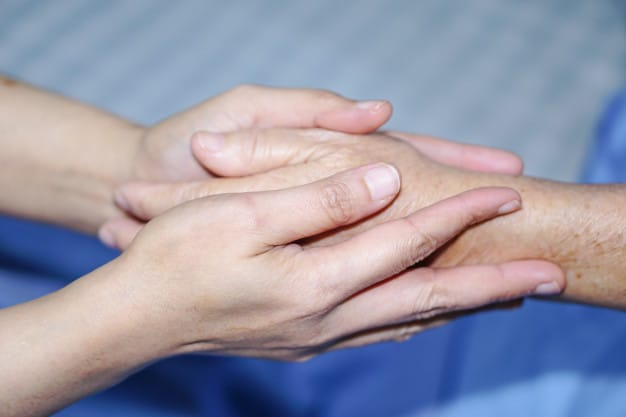 Image of Elderly person holding a carers hand