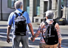 Elderly Couple Walking